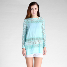 Autumn 2017 new arrive women blouses O neck full sleeve solid hot  sale Couture retro style crochet thin long lace shirt 5206