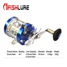 High Strength All Metal Trolling Fishing Reels 6+1 Bearing Drum Reel Saltwater Fishing Reel Baitcasting Wheel Black/blue(China)