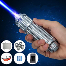 Mini Portable Blue Laser Light High Power Laser Pointer Blue Beam Pen 5 Head+Case+Battery+Charger+Goggles 1000NW Outdoor Light