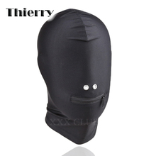 Thierry zippered stretchable Eyeless head Hood,adult games Fetish SM games products sex toys for couples bondage slave(China)