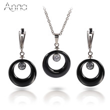 A&N Ceramic Stainless Steel Jewelry Set Black&White Ceramic Pendent&Earrings Cute Delicate Popular Wedding Jewelry Set For Women