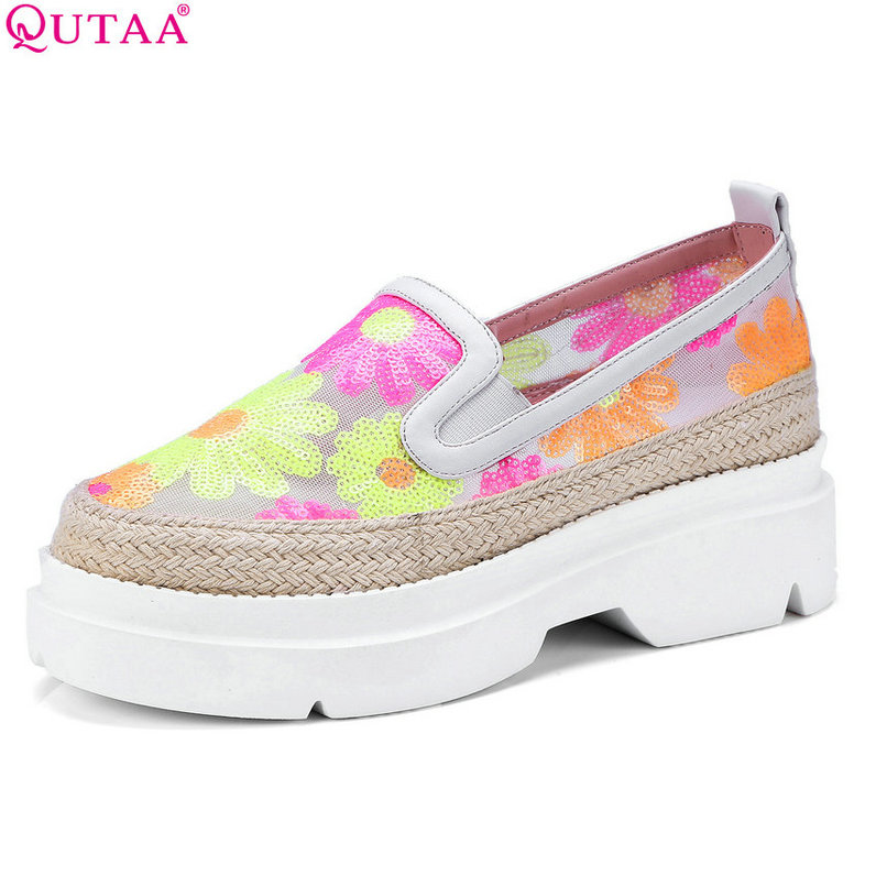 QUTAA 2018 Women Pumps Synthetic Fashion Women Shoes Platform Slip Oncasual All Match Wedges Heel Ladies Shoes Size 34-40<br>