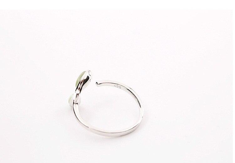 Resizeable Open Ring Green Opal Leaf 925 Sterling Silver