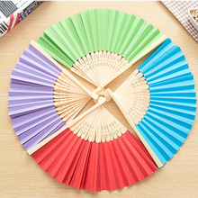 2 Pcs Bamboo Paper Pocket Fan Folding Hand Held Chinese Style Outdoor Wedding Party Event Festival Party Supplies Decoration