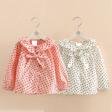 New Autumn Style Children Clothing Girls Princess stars Blouses Kids Tops Baby Girl shirt Lovely turn down collar bow Shirts
