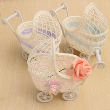Wicker Artificial Flower Basket Cute Baby Car Plastic Storage Vase Wedding Candy Gift Container Organizer Home Table Decor