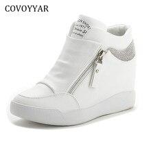 COVOYYAR 2018 Strass High Top Sneakers Donna Primavera Autunno New Hidden  Heel Shoes Casual Side Zip 56658e6cf07