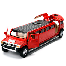 Extended Alloy Model Luxury Cars Size 22Cm Length Scale 1/32 And 6 Doors DieCast Toys Car No Box Pack With Light and Music(China)