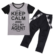 T-shirt Tops Pants Casual Stylish Kids Baby Girls Clothes Sets 2pcs Dark Gray Belt Hole Cotton 2016 Outfit Set Girl
