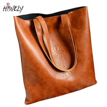 HISUELY Fashion Women Handbags Bucket Embossed Letters Shoulder Bags Ladies Cross Body Bags Large Capacity Ladies Shopping Bag(China)