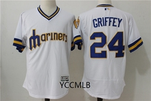 MLB Men's Seattle Mariners 24 Griffey White Throwback Baseball Flex Base Authentic Collection Player Jersey Free Shipping(China)