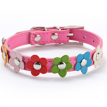 Sweet Flower Studded Puppy Pet Dog Cat Collar Leather Buckle Neck Strap Collar Dog Girl Collars Flowers