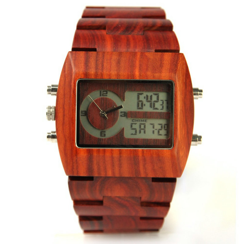 2017 new luxury fashion red sandalwood mens wooden watch business casual creative Japanese movement quartz watch<br>