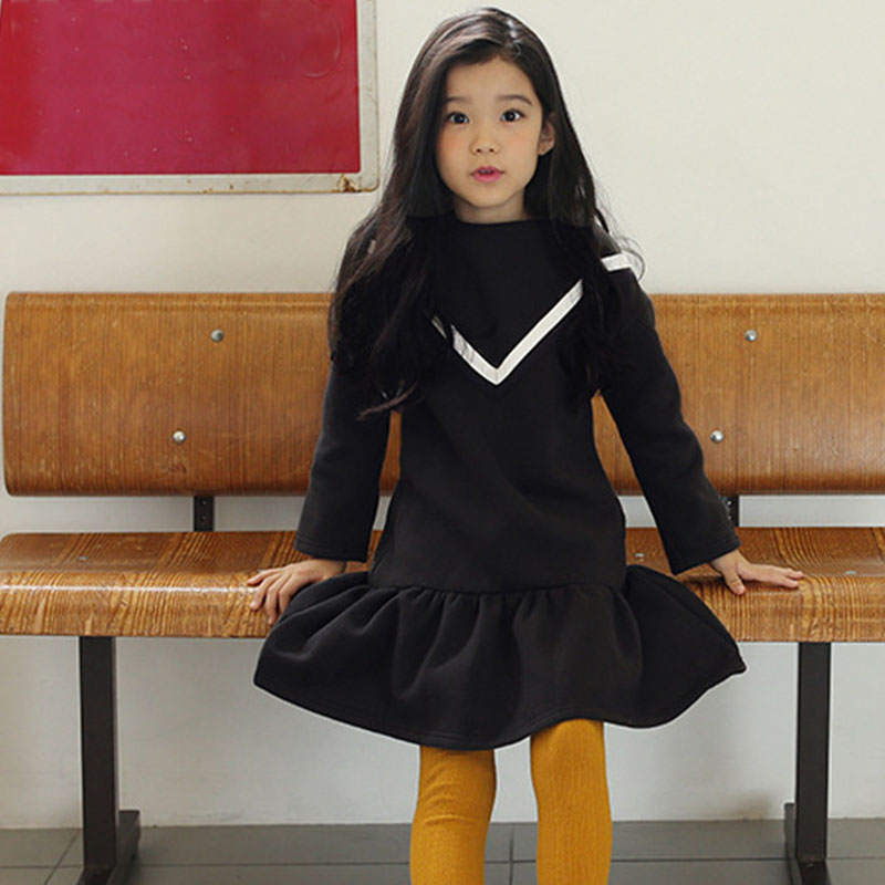 long fleece teenage little girls princess dress autumn winter 2016 ruffles long sleeve girl dresses gray black kids clothes<br>