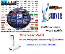 1 year CCCAM 3 lines For Satellite receiver  Sky Spain UK(SD) Germany Poland Canal digital POLSAT a Cyfra+,MOVISTAR ESP,