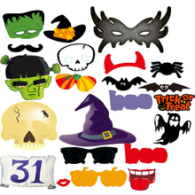 22Pcs/set Halloween Decoration Photo Booth Props Mustache Scary Boo Party Mask Trick or Treat Photobooth Party Favors Supplies,Q