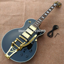 Free shipping  Custom paul Black  3 pickups Golden Hardware LP electric guitar with bigsby