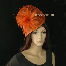2017 NEW 20 colors Rusty brown Feather sinamay fascinator hat for melbourne cup,ascot races,kentucky derby,party,wedding.