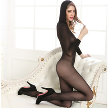 See Through Cheer Black Open Crotch Hooded Socks Sexy Bodysuit Sex Bodystocking for Women Sexy Lingerie Body stocking S06157