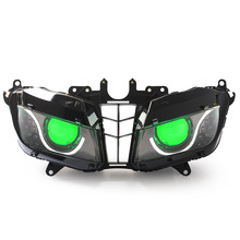 KT Headlight for Honda CBR600RR 2013-2016 LED Optical Fiber Green Demon Eye Motorcycle HID Projector Assembly 2014 2015(China)