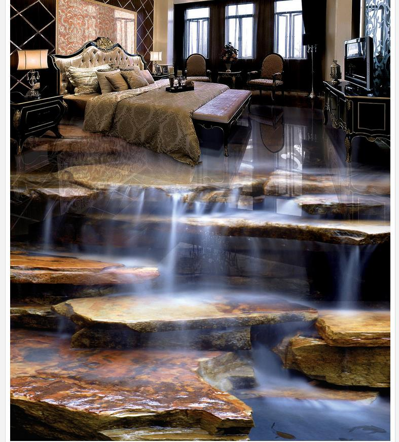 Home Decoration Stone waterfall living room bathroom 3d flooring 3d pvc wallpaper waterproof wall murals<br><br>Aliexpress