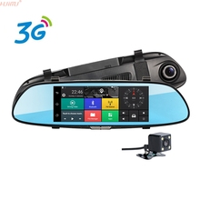 night vision New 3G Car DVR 7 inch IPS GPS Navigation Android 5.0 Bluetooth Rearview DVR Mirror Recorder Camera Sat Nav Vehicle