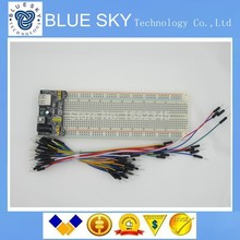 NEW 3.3V/5V MB102 Breadboard power module+MB-102 830 points Solderless Prototype Bread board kit +65 Flexible jumper wires