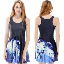 Space Probe 3d Print One-Piece Skater Dress A-line Bodycon Women Sundress Artificial Satellite Reversible Tennis Dress Saias