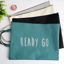 Words A4 Document Bag Fabric File Folder For Documents Stationery 33x24.5cm Document Bag School Supplies (Only White)(China)