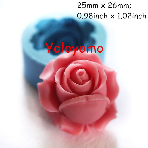 Free Shipping H041YL Rose / Flower 26mm Silicone Mold for Fondant, Cake Decorating Chocolate Cookie Soap Fimo Polymer Clay Resin(China (Mainland))