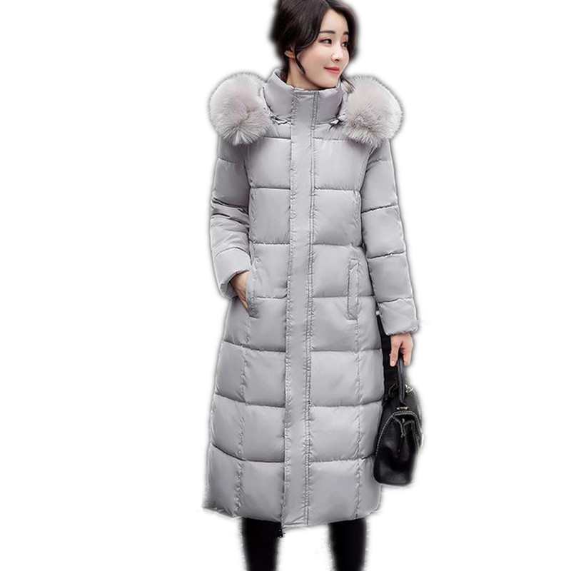 2017 New Winter Women Long Down Cotton Simple Slim Jacket Parka Hooded Fur Collar Female Size M-4XL Four Colors Cotton CoatCQ258Îäåæäà è àêñåññóàðû<br><br>