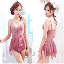 Sexy Women Babydoll Lingerie Nightgown Sleepwear Lace Translucent Night Dress Strappy hot Teddies Sexy Lingerie