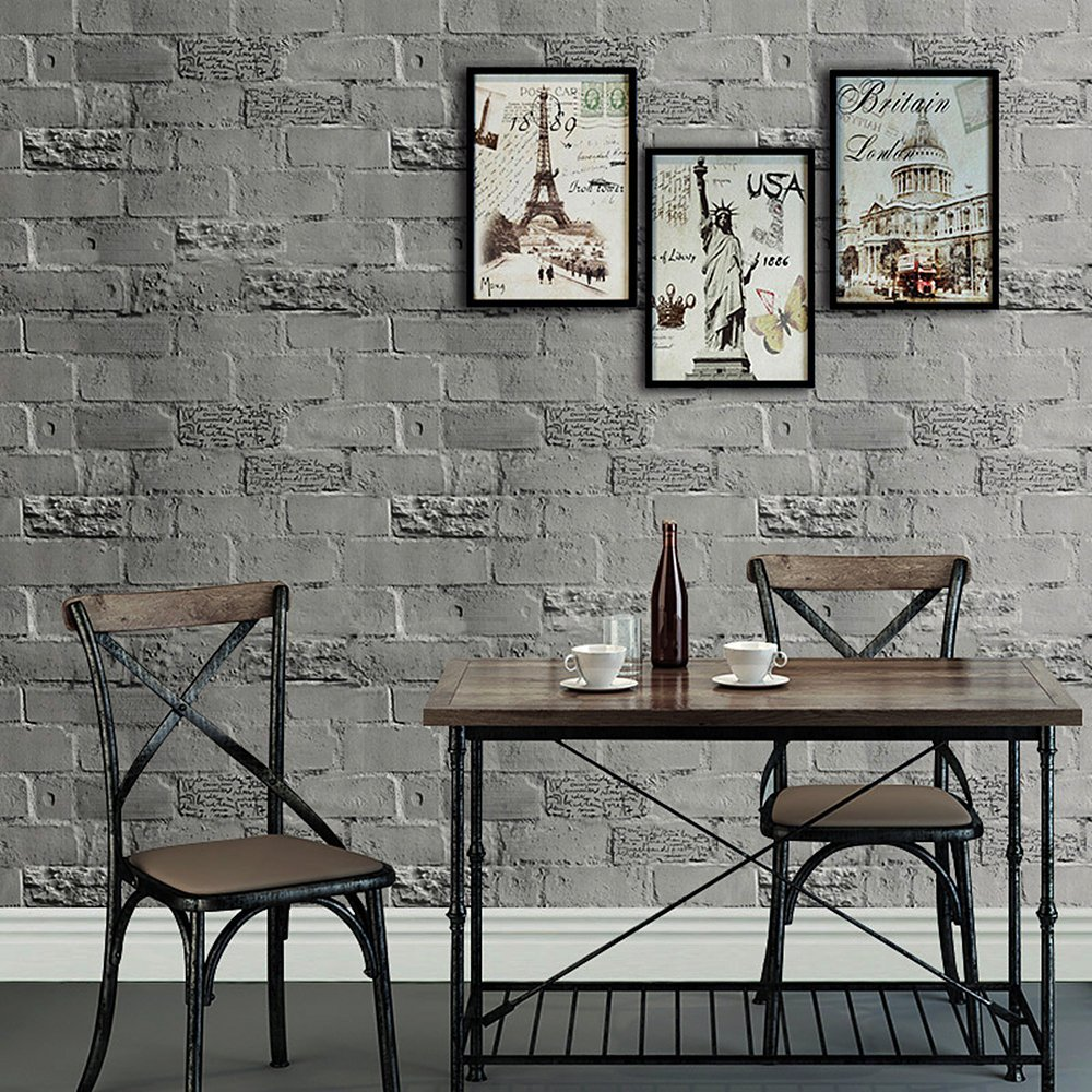 HaokHome Faux Brick Peel and Stick Wallpaper 23.6 x 19.7ft Dk.Grey Self Adhesive Contact Paper Wall Decoration <br>