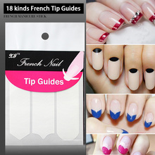 18 pcs(shapes)/lot French Manicure Tip Guides 18 Kinds Smile Lines Nail Stickers Nail Art Decorations(China)