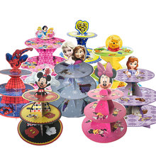 1set Mickey Mouse Minnie Mouse Kids Birthday Party Decoration 3-tier Cake Stand Baby Shower Supplies Cupcake Stand Candy Bar