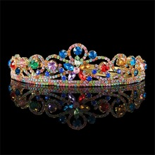 Luxury Golden Headband Colorful Rhinestone Crown Tiara for Wedding Prom Party Decor HG00202(China)