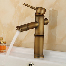 Free shipping Bamboo antique basin sink mixer tap with hot cold solid brass bathroom basin sink water faucet(China)