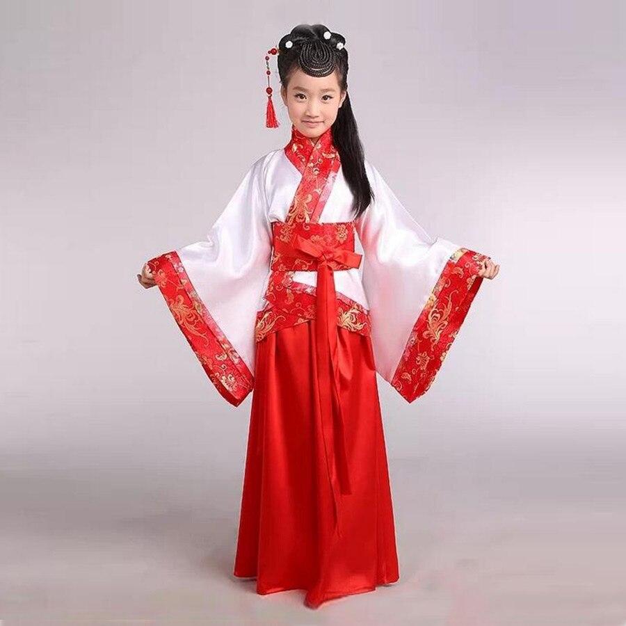 Girl ancient Chinese traditional national costume Hanfu red dress princess children hanfu dresses cosplay clothing girls kids<br>