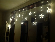 5M* 0.65 M18PCS pentagon  Wedding decoration products of LED lights flash lamp set creative star light curtain