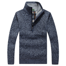 Men's Sweaters Thick Warm Winter Zipper Pullover Cashmere Wool Sweaters Man Casual Knitwear Fleece Velvet Clothing Big Size(China)