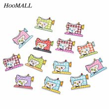 Hoomall  50PCs Wood Buttons Sewing DIY Scrapbooking Decoration Sewing Machine Random Two Holes Garment Accessories 26x20mm