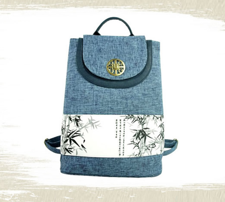 Linen Chinese Style Canvas Ethnic Backpack Vintage Printing Porcelain Bamboo Lotus Shoulder School Cover Bags<br>