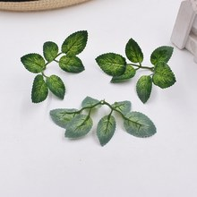 10pcs green artificial leaves wedding home decoration rose leaves DIY cut and paste craft false flowers artificial plants