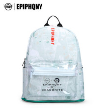 Epiphqny Famous Brand Fresh Backpack Women Transparent Pocket Carrot Printing Backbag PU Leather Travel Bag Girls Packbag Small(China)