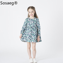 Long Sleeved Dress Factory Direct Round Neck Printing Summer Kids Dresses Girls Floral Cotton Children New Arrival Spring Girl