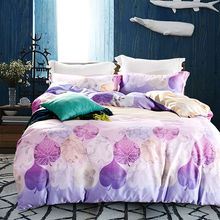purple leaves print bedding sets double queen king size quilt cover set super soft silk tencel linen home textile