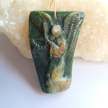 Natural Stone Ocean Jasper Carved Angel Front Drilled Necklace Pendant 55x38x9mm 26.7g Fashion Jewelry Accessories