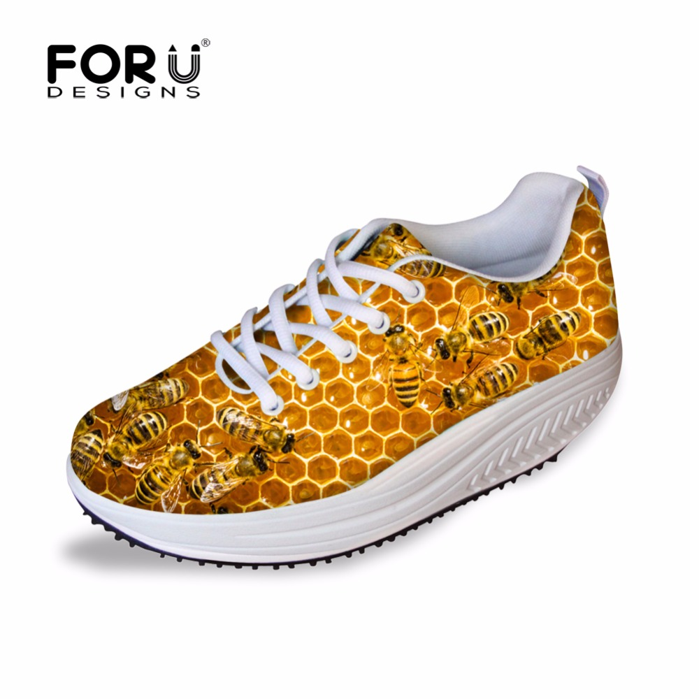 FORUDESIGNS Fashion Women Height Increasing Flat Platform Shoes Animal Bee Printed Health Female Beauty Swing Slimming Shoes<br>