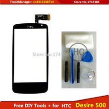 Free DIY Tools+Original New Touch Screen for HTC Desire 500 Glass Capacitive sensor Touch Screen panel Black