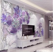 Custom Mural Wallpaper For Bedroom Walls 3D Purple European Flower Background Wall Papers Home Decor Living Room Wall Paper